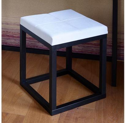 Cordoba Small Stool Black Oak Square Frame Off-White Fabric Seat image 4