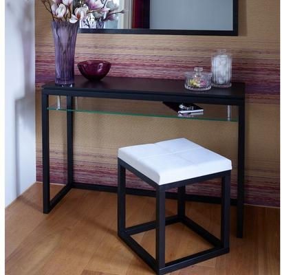 Cordoba Small Stool Black Oak Square Frame Off-White Fabric Seat image 5