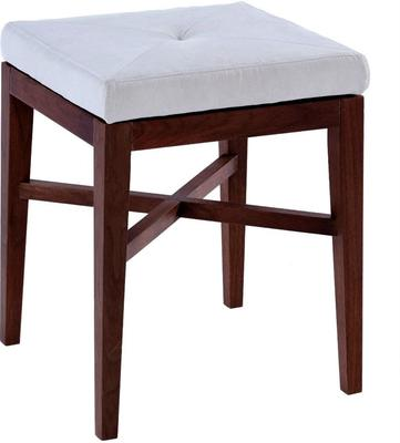 Lux Upholstered Stool Off-White Upholstery Walnut Legs