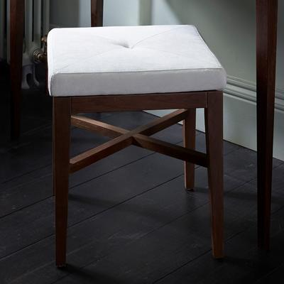Lux Upholstered Stool Off-White Upholstery Walnut Legs image 3
