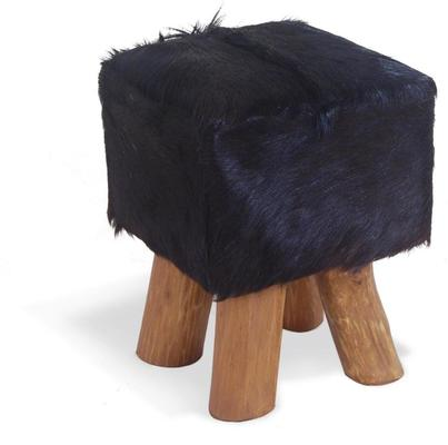 Mohawk Small Square Hide Stool Rustic Style