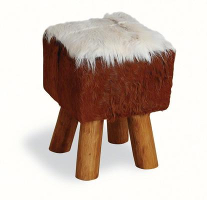 Mohawk Small Square Hide Stool Rustic Style image 2