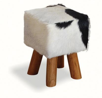 Mohawk Small Square Hide Stool Rustic Style image 3