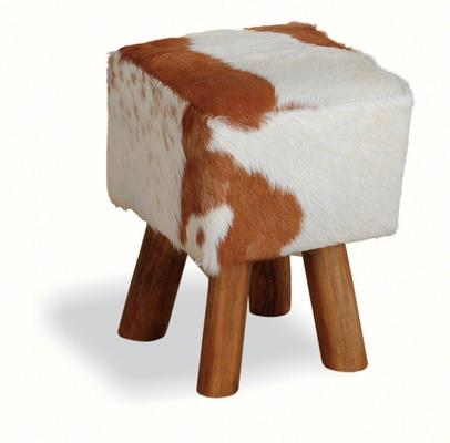 Mohawk Small Square Hide Stool Rustic Style image 4
