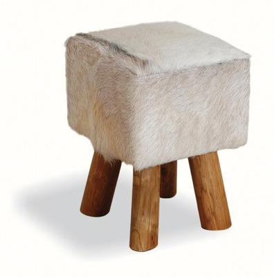 Mohawk Small Square Hide Stool Rustic Style image 5