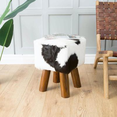Mohawk Small Square Hide Stool Rustic Style image 6