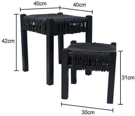 Pair of Knotted Rope Stools - Black image 3