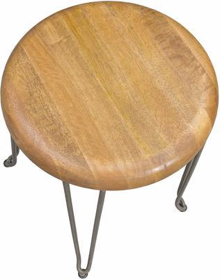 Hairpin Stool Mango Wood and Steel image 2