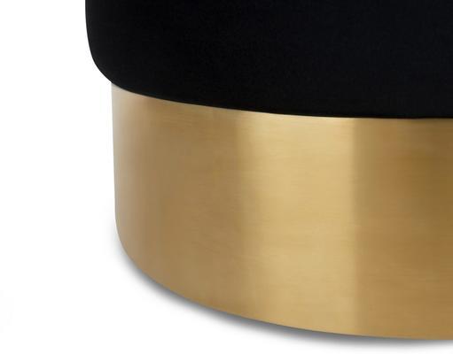 Eliott Velvet Stool Steel or Brass Base image 3