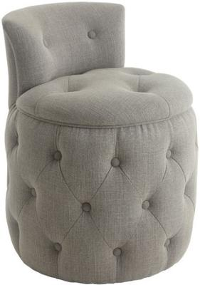 Helm Buttoned Light Grey Upholstered Stool