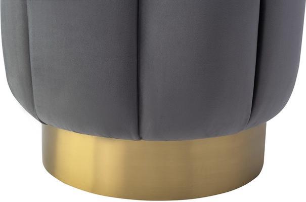 Cloe Velvet Stool with Brushed Brass Bass image 2