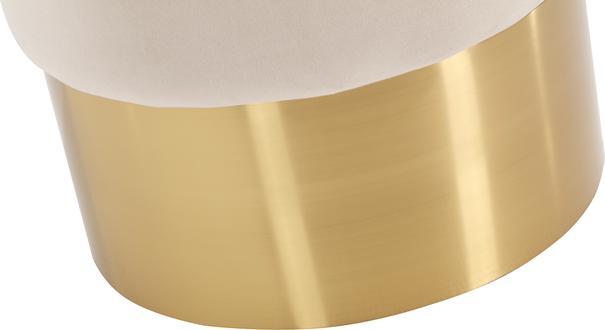 Calvin Round Velvet Stool with Brass Bass image 11
