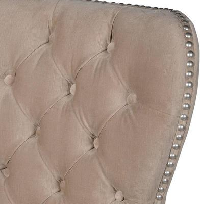 Beige Buttoned Velour Bar Kitchen Stool Silver Studs image 2
