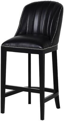 Black Ribbed Leather Studded Bar Stool