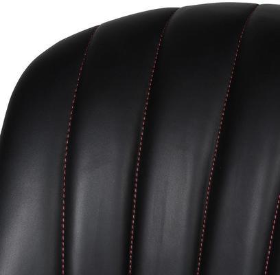 Black Ribbed Leather Studded Bar Stool image 2