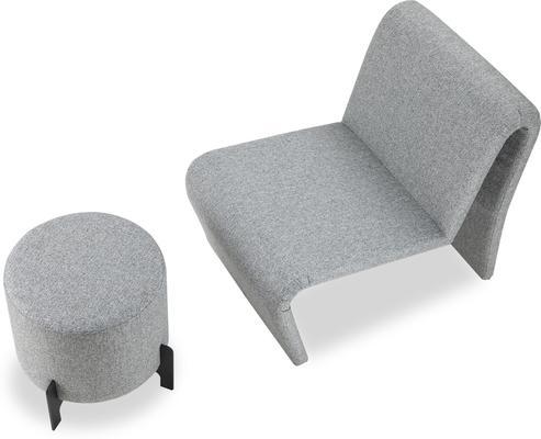 Koldrum Fabric Stool - Grey Fabric or Boucle Sand image 4