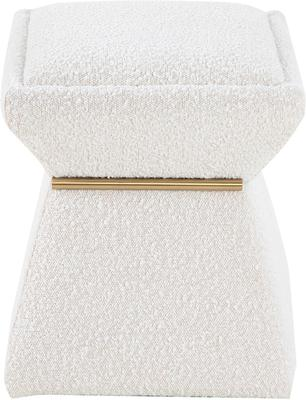 Zane Hourglass Stool in Sand Boucle Fabric image 3