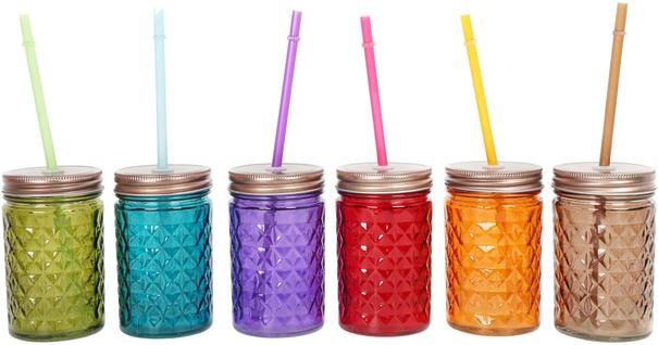 Set of 6 Diamond Cut Drinking Jars Multicoloured