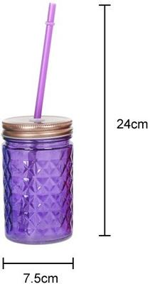 Set of 6 Diamond Cut Drinking Jars Multicoloured image 2