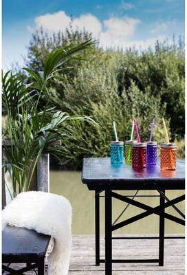 Set of 6 Diamond Cut Drinking Jars Multicoloured image 3