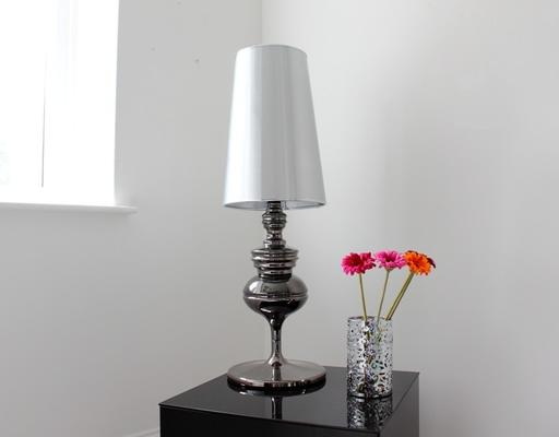 Tall Polished Pewter Table Lamp image 2