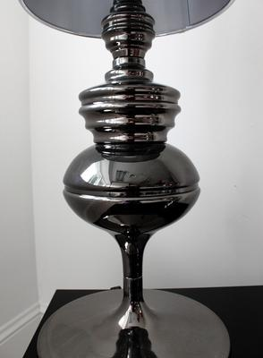 Tall Polished Pewter Table Lamp image 4