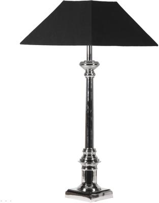 Slender Nickel Table Lamp with Black Shade