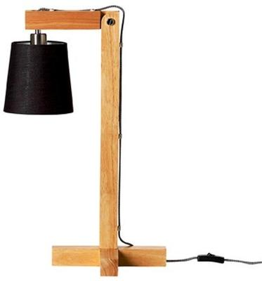 Bloomingville Wooden Table Lamp with Black Shade image 2