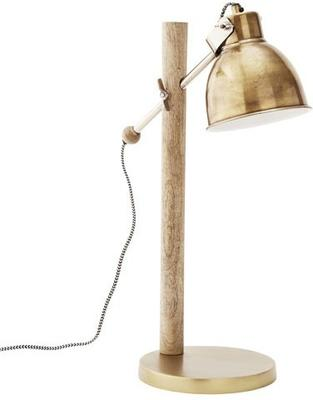 Wooden Pole Table Lamp with Metal Shade image 2