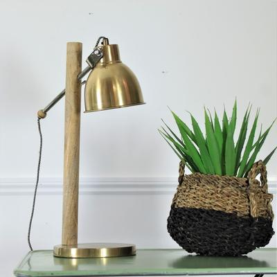 Wooden Pole Table Lamp with Metal Shade