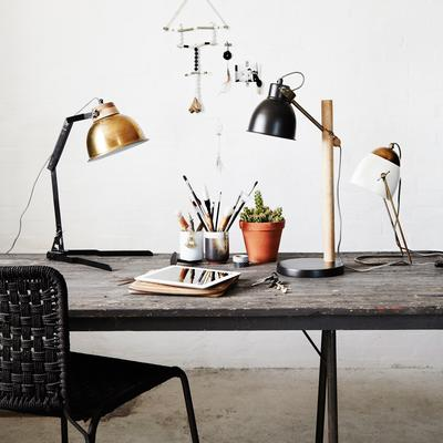 Industrial Large Dome Table Lamp with Black Stand and Brass Shade