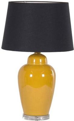 Yellow Ceramic Table Lamp Black Shade