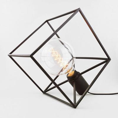 Paradice Naked Table Lamp Black Wire Cube