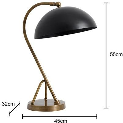 Study Table Lamp Black Dome Vintage image 2