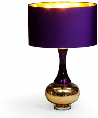 Bulbous Table Lamp Purple Silk Shade