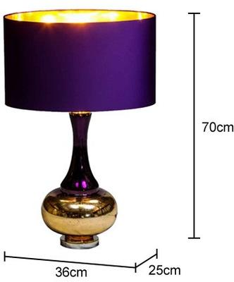 Bulbous Table Lamp Purple Silk Shade image 2