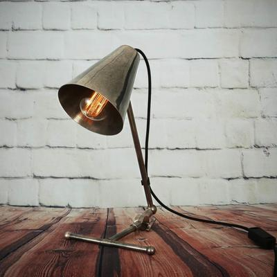 Comoro Industrial Antique Cone Table Task Lamp in Silver or Brass image 2