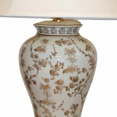White & Brown Ceramic Table Lamp image 2