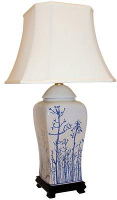Cream Ceramic Lamp with Winter Trees