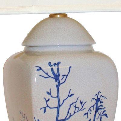 Cream Ceramic Lamp with Winter Trees image 2
