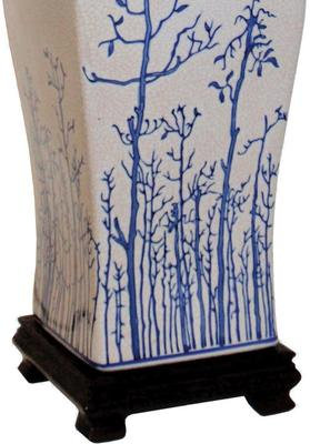Cream Ceramic Lamp with Winter Trees image 3