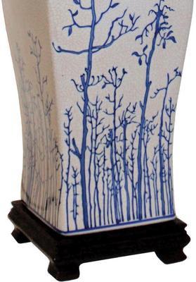 Cream Ceramic Lamp with Winter Trees image 3