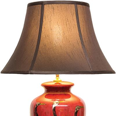 Red Lacquer Table Lamp with Gold Cranes image 2