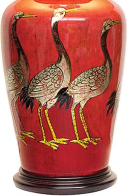 Red Lacquer Table Lamp with Gold Cranes image 3