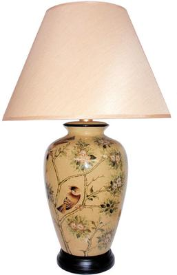 Oriental Table Lamp with Birds and Blossom