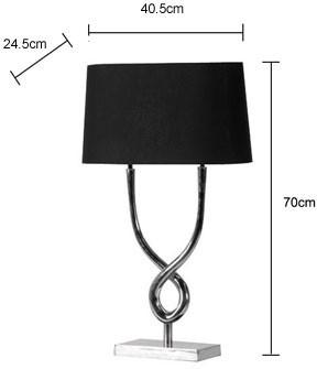 Twin Stem Table Lamp Nickel Base with Black Shade image 2