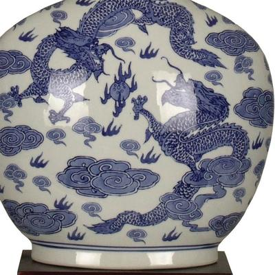 Blue and White Dragon Lamp image 2