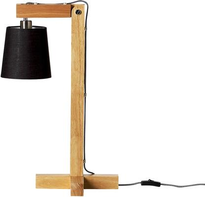 Bloomingville Wooden Table Lamp with Black Shade