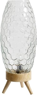 Hexagonal Pattern Glass Table Lamp