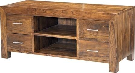 Cube Sheesham Plasma Media Unit Rustic Hardwood